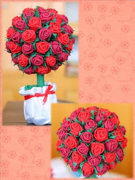 Розы из салфеток для топиарий своими руками